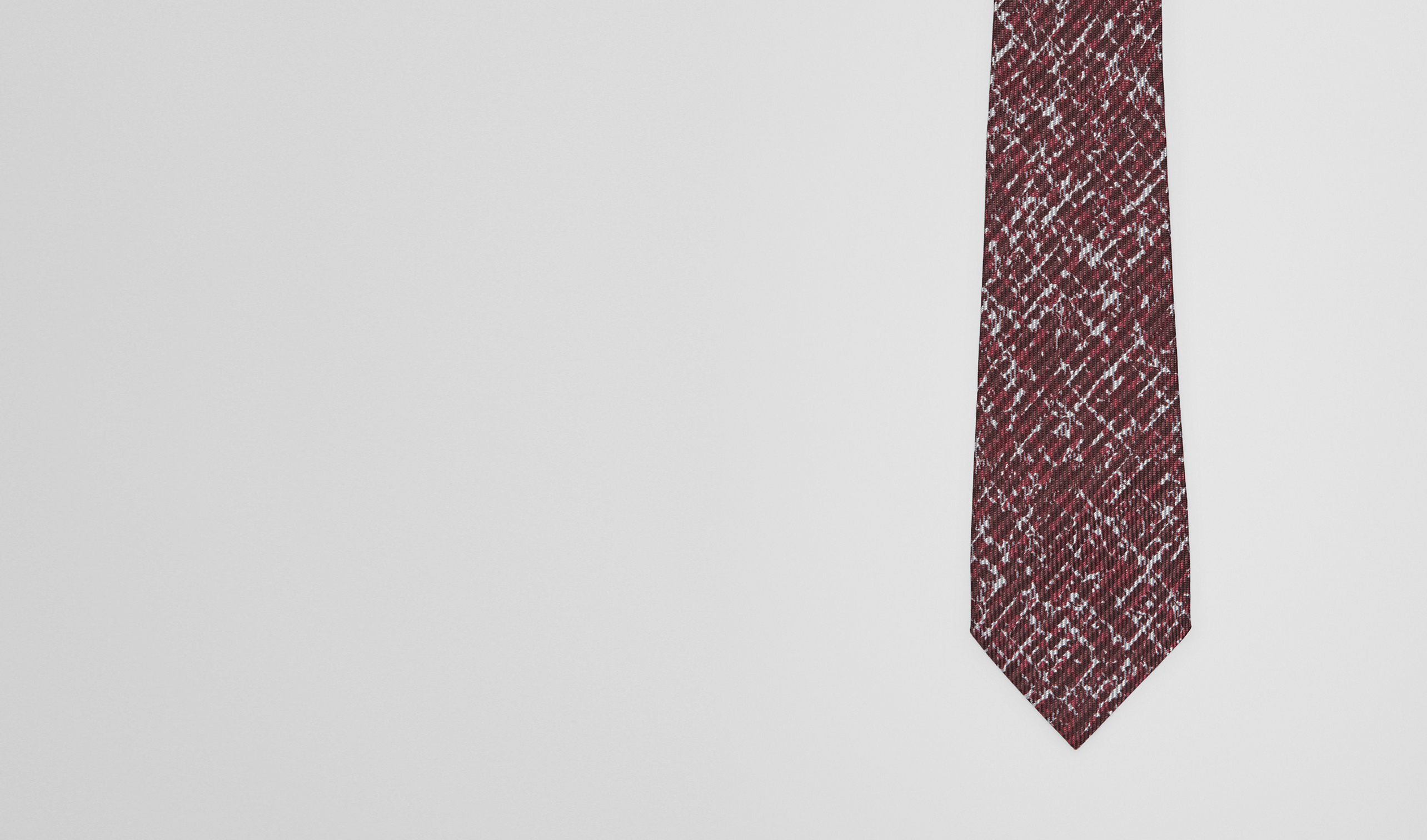 BOTTEGA VENETA Tie U Coffee Bordeaux Silk Tie pl