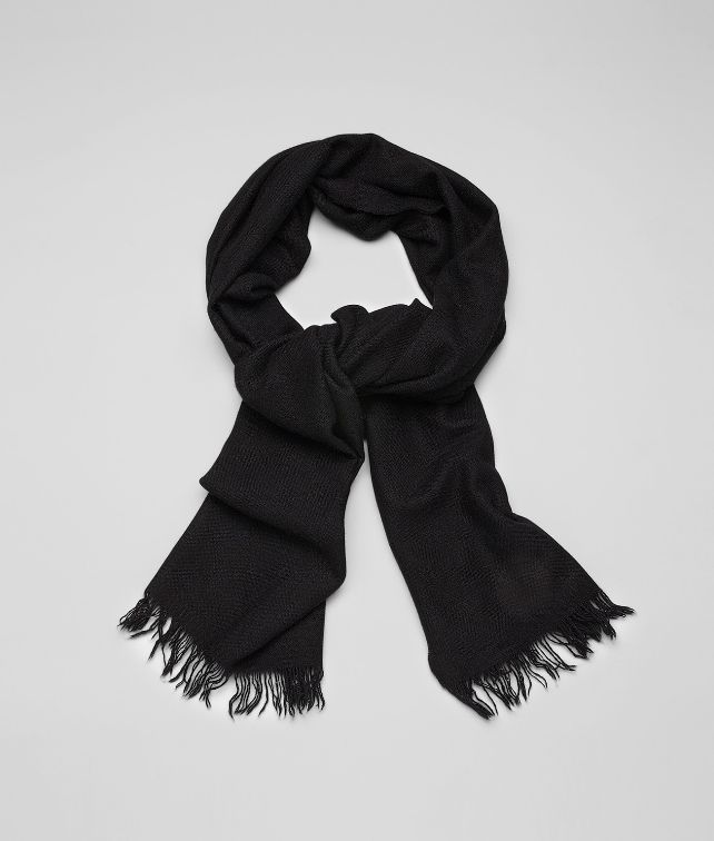 BOTTEGA VENETA SCARF IN NERO CASHMERE SILK  Scarf or Hat or Glove U fp