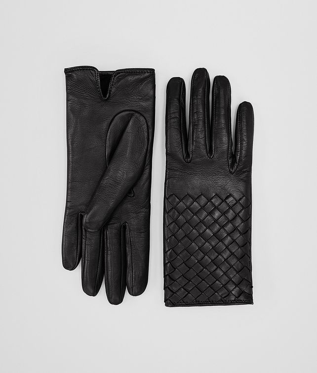 BOTTEGA VENETA GLOVE IN NERO NAPPA, INTRECCIATO DETAILS Scarf or other D fp