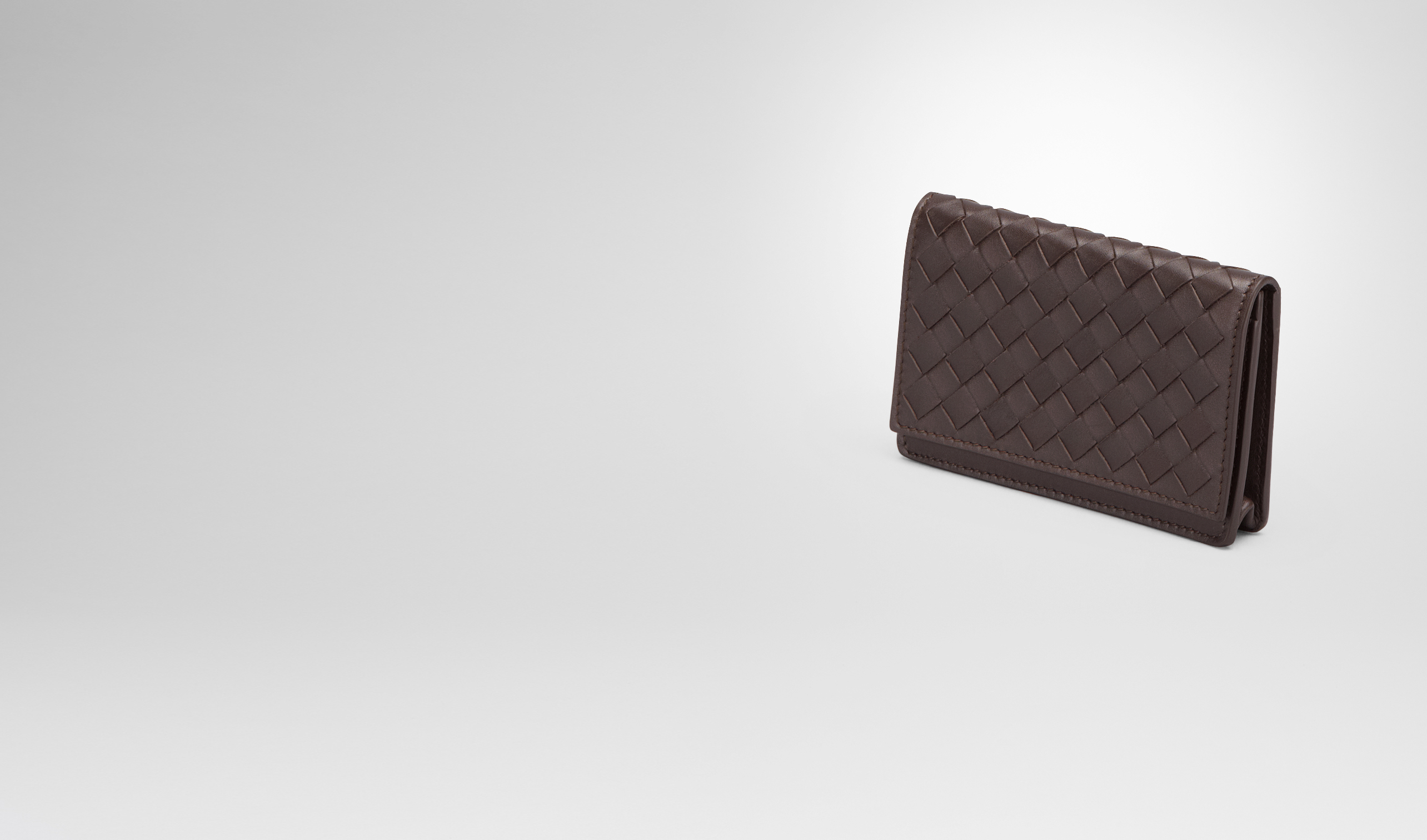 Bottega Veneta Ebano Intrecciato Vn Business Card Case
