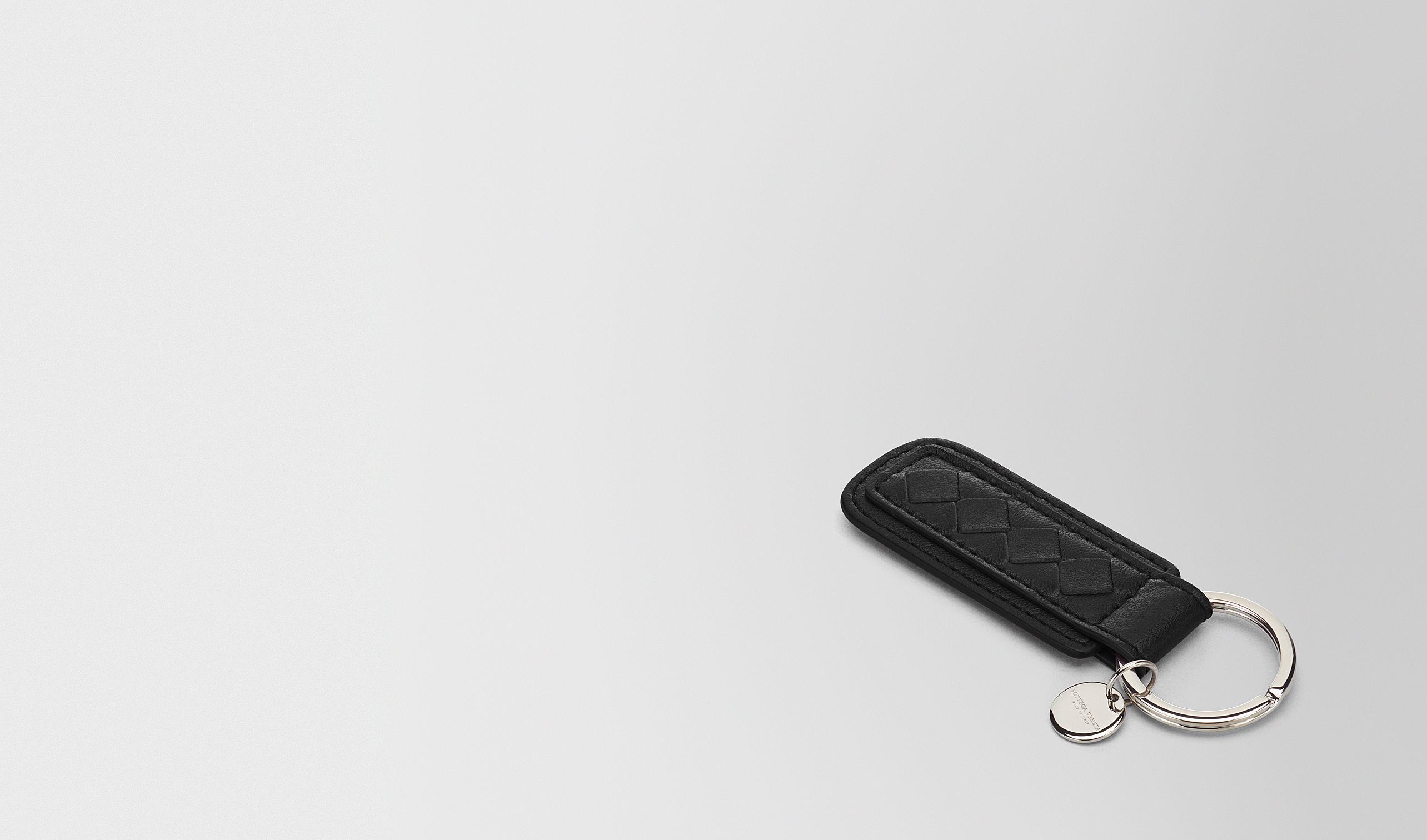 BOTTEGA VENETA Porte-clé ou Bracelet E PORTE-CLÉS EN INTRECCIATO NAPPA NERO pl