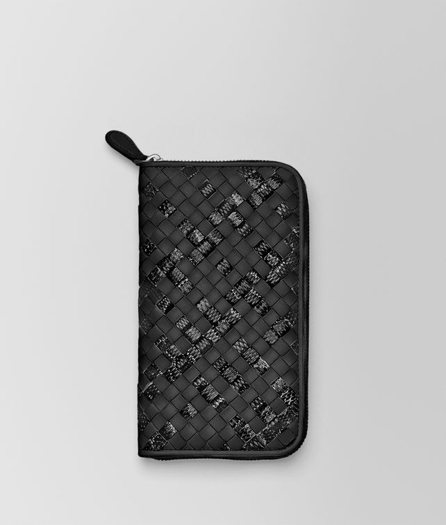 BOTTEGA VENETA ZIP AROUND WALLET IN NERO INTRECCIATO NAPPA AND AYERS Zip Around Wallet D fp