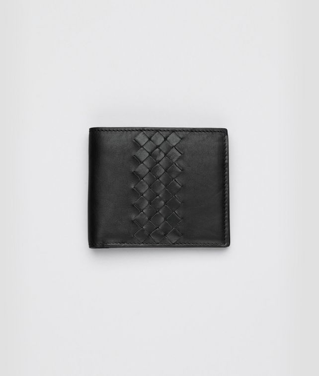 BOTTEGA VENETA Nero Light Calf Intrecciato Wallet Bi-fold Wallet U fp