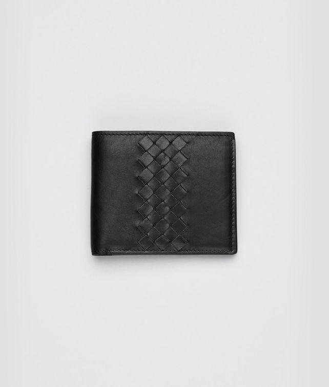 BOTTEGA VENETA Portefeuille intrecciato en cuir de veau léger nero Portefeuille à deux volets U fp