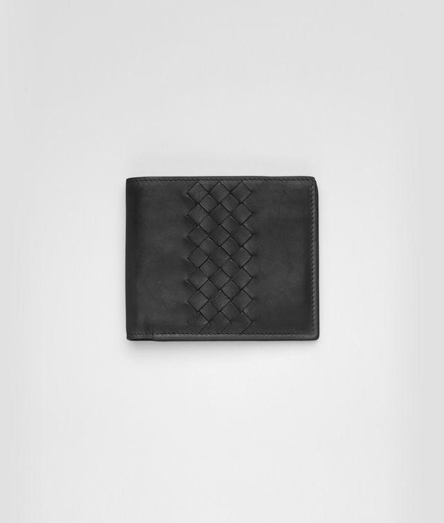 BOTTEGA VENETA Portemonnaie aus leichtem Kalbsleder Intrecciato Nero Faltbares Portemonnaie U fp