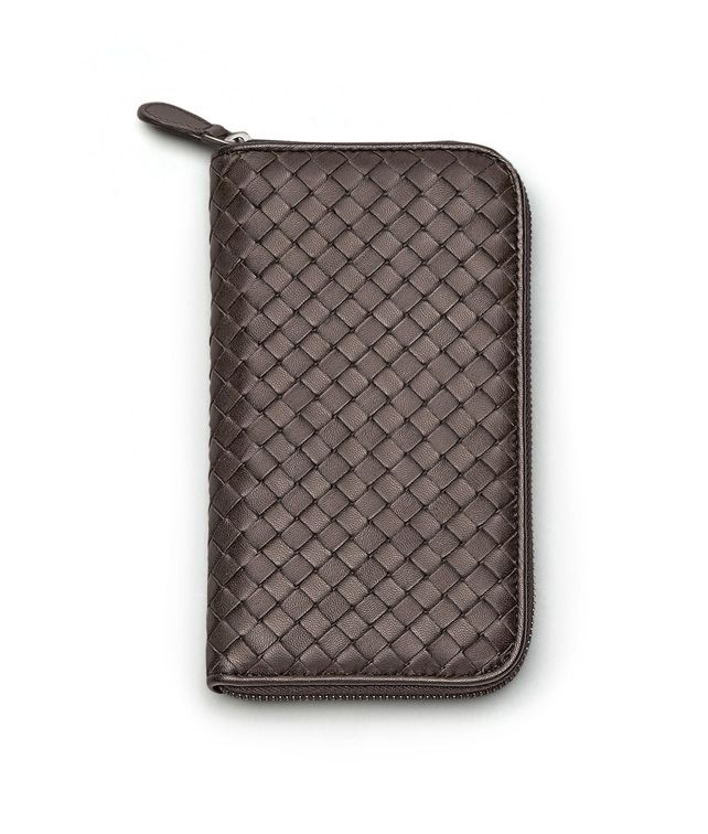 BOTTEGA VENETA ZIP AROUND WALLET IN EBANO INTRECCIATO NAPPA Zip Around Wallet D fp