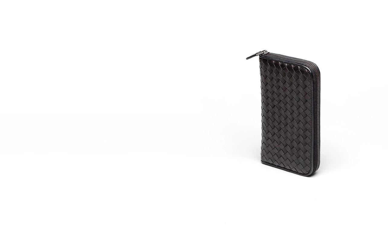 BOTTEGA VENETA Zip Around Wallet D ZIP AROUND WALLET IN NERO INTRECCIATO NAPPA pl
