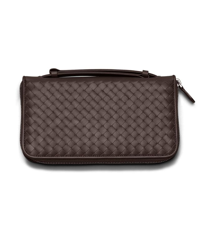 BOTTEGA VENETA DOCUMENT CASE IN EBANO INTRECCIATO VN Zip Around Wallet E fp