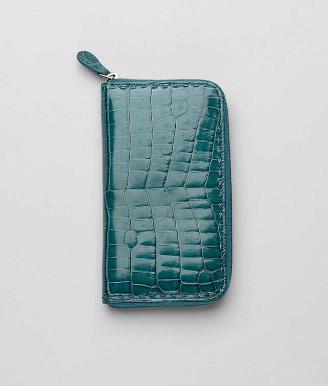 BOTTEGA VENETA ZIP AROUND WALLET IN TEAL CROCODILE Zip Around Wallet E fp