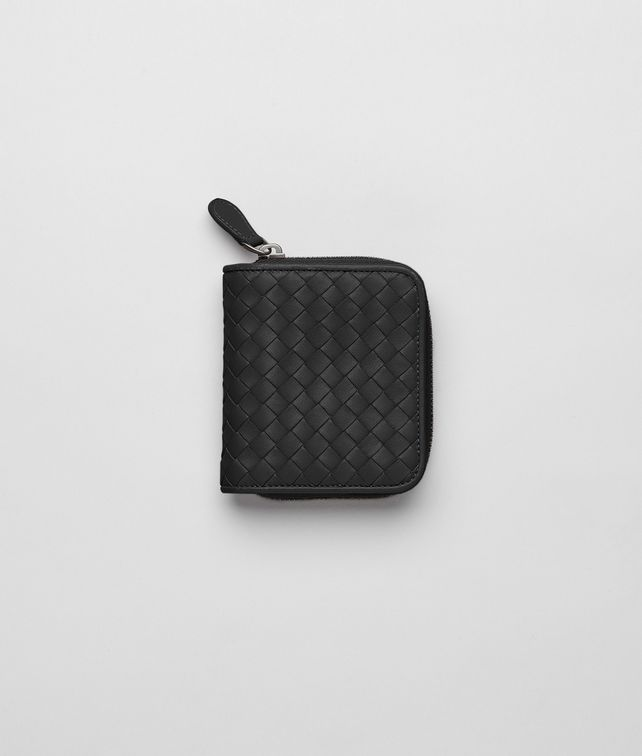 BOTTEGA VENETA MINI WALLET IN NERO INTRECCIATO NAPPA Mini Wallet or Coin Purse Woman fp