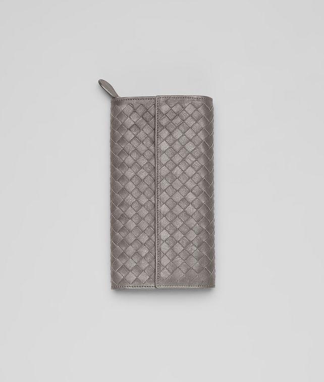 BOTTEGA VENETA Continental Portemonnaie aus gewaschenem Lammleder Intrecciato Fume Continental Portemonnaie D fp