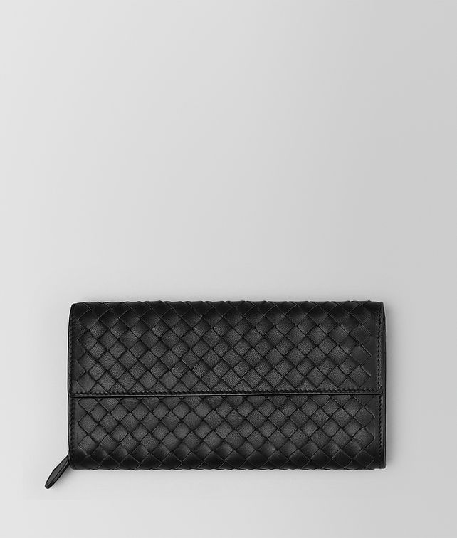 BOTTEGA VENETA CONTINENTAL WALLET IN NERO INTRECCIATO NAPPA Large Wallet Woman fp