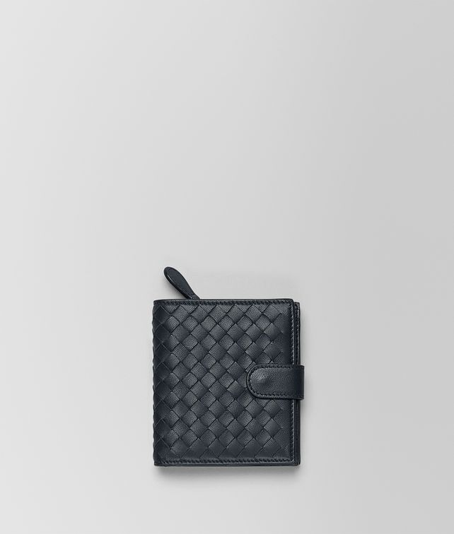 BOTTEGA VENETA MINI WALLET IN TOURMALINE INTRECCIATO NAPPA Mini Wallet or Coin Purse Woman fp