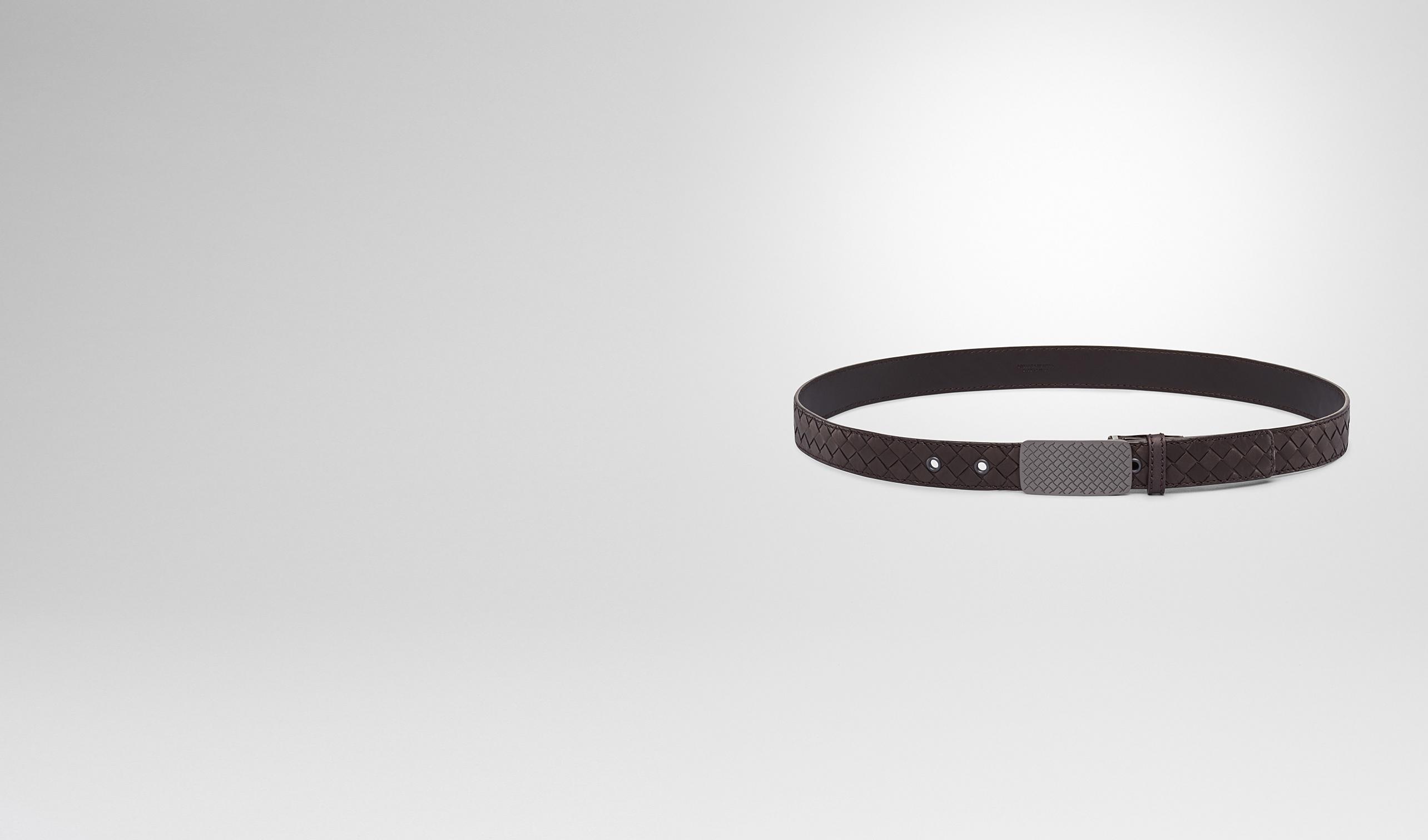 BOTTEGA VENETA Belt U Espresso Intrecciato Waxed Leather Belt pl