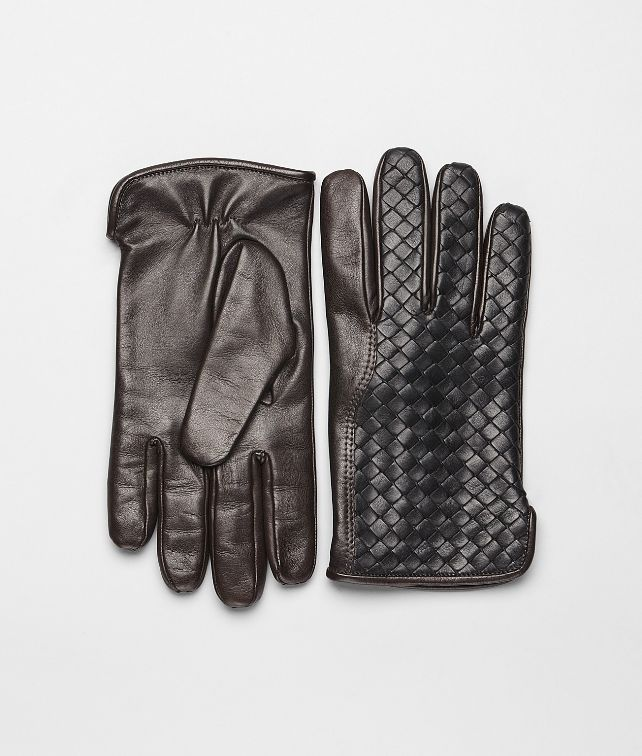 BOTTEGA VENETA Nero Ebano Intrecciato Soft Nappa Gloves Scarf or Hat or Glove U fp