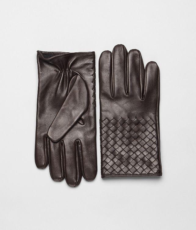 BOTTEGA VENETA Handschuhe aus weichem Nappaleder Intrecciato Ebano Schal oder Hut oder Handschuhe U fp