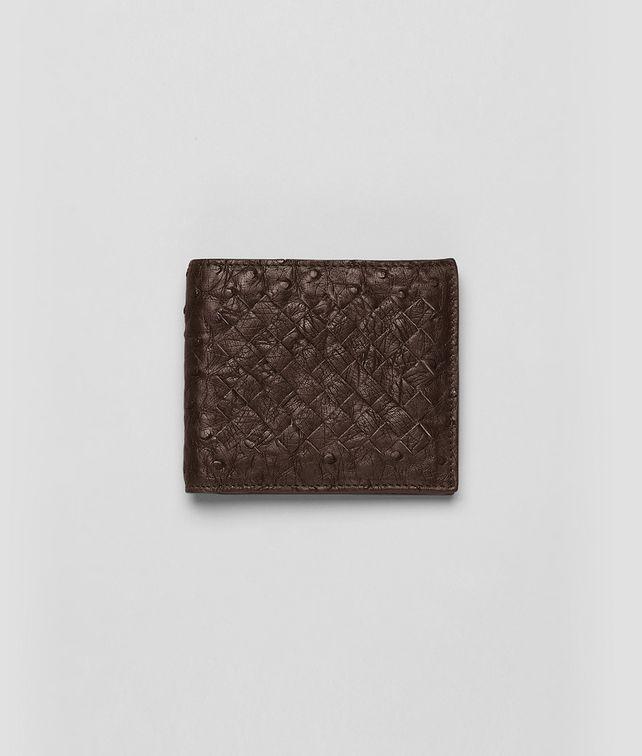 BOTTEGA VENETA Portemonnaie aus Straußenleder Cioccolato Antique Faltbares Portemonnaie U fp