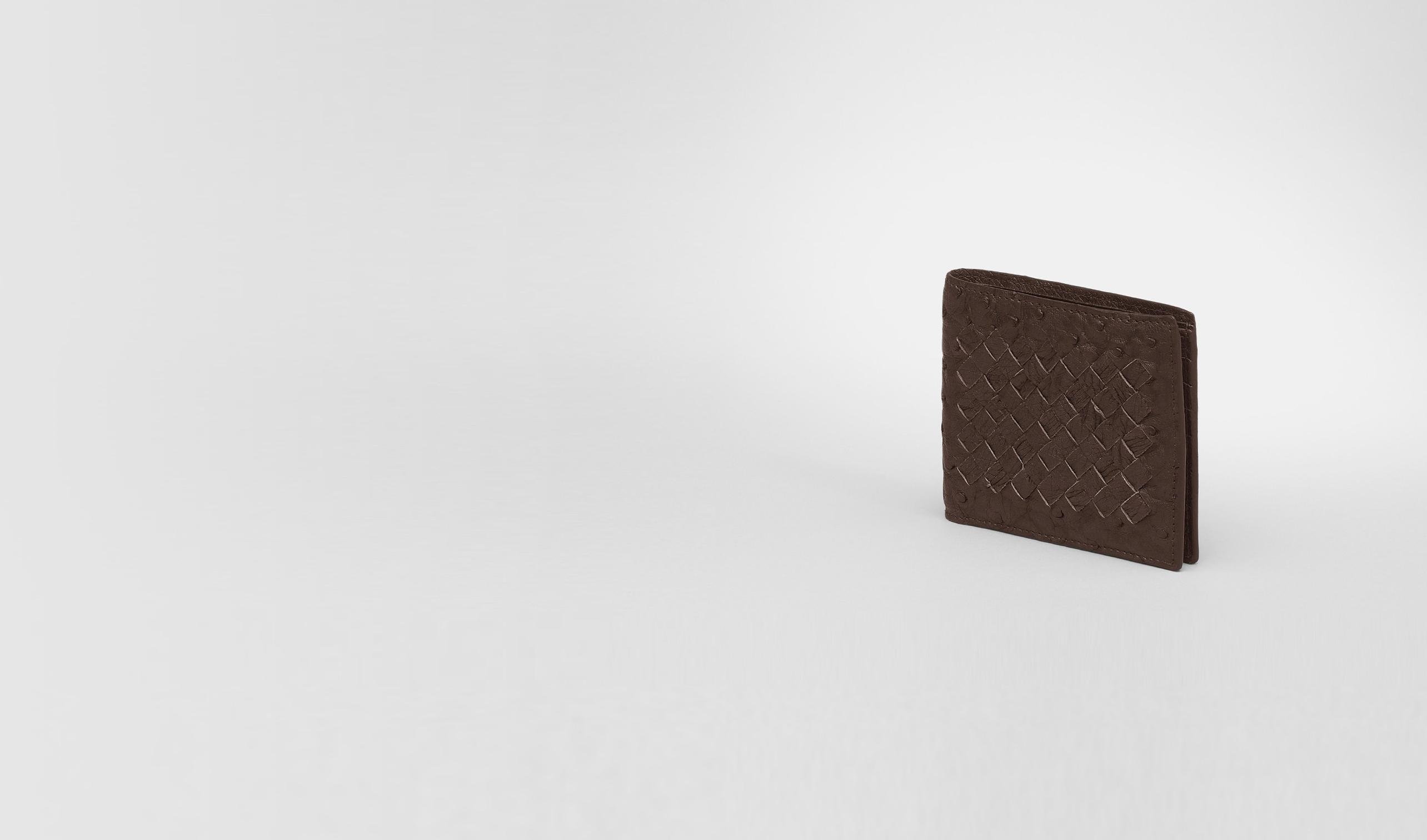 BOTTEGA VENETA Bi-fold Wallet U Cioccolato Antique Ostrich Wallet pl
