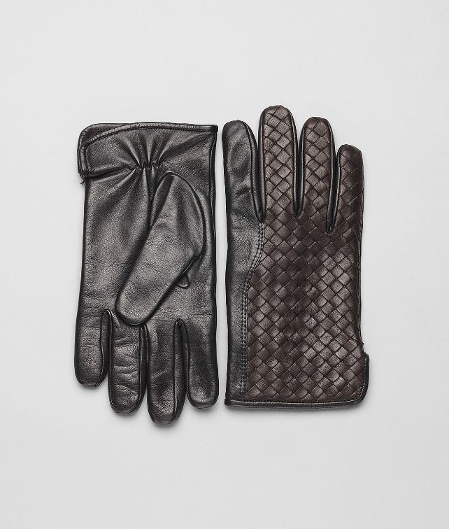 BOTTEGA VENETA Ebano Nero Intrecciato Soft Nappa Gloves Scarf or Hat or Glove U fp