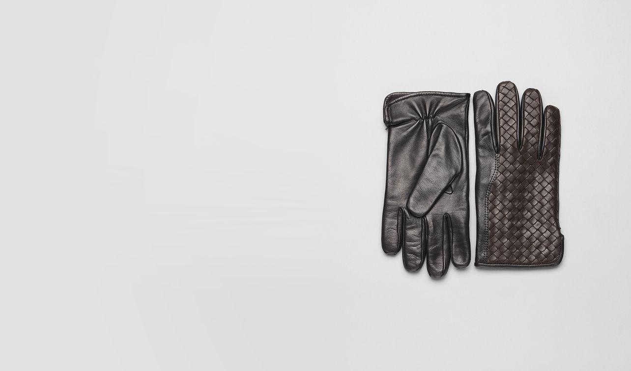 BOTTEGA VENETA Scarf or Hat or Glove U Ebano Nero Intrecciato Soft Nappa Gloves pl