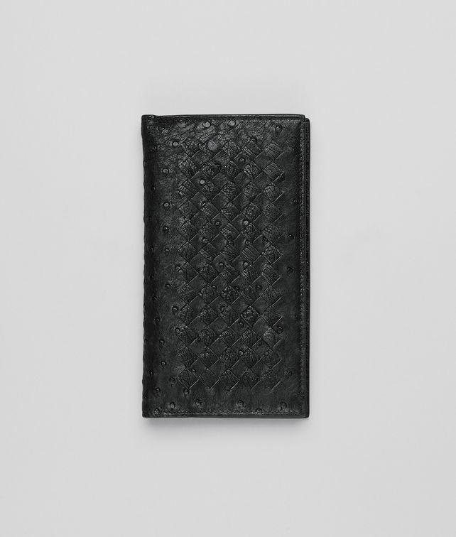 BOTTEGA VENETA Continental Wallet aus Straußenleder Ardoise und Antique Continental Portemonnaie U fp
