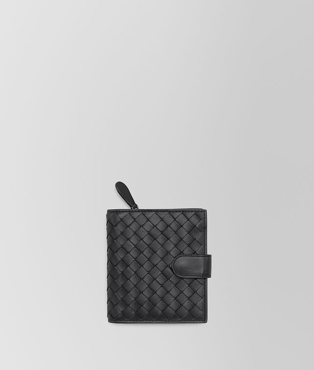 BOTTEGA VENETA MINI WALLET IN NERO INTRECCIATO NAPPA Small Wallet Woman fp
