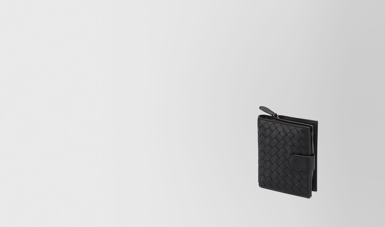 mini wallet in nero intrecciato nappa landing