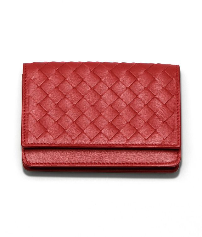 BOTTEGA VENETA CARD CASE IN BLOOD INTRECCIATO NAPPA Other Leather Accessory E fp