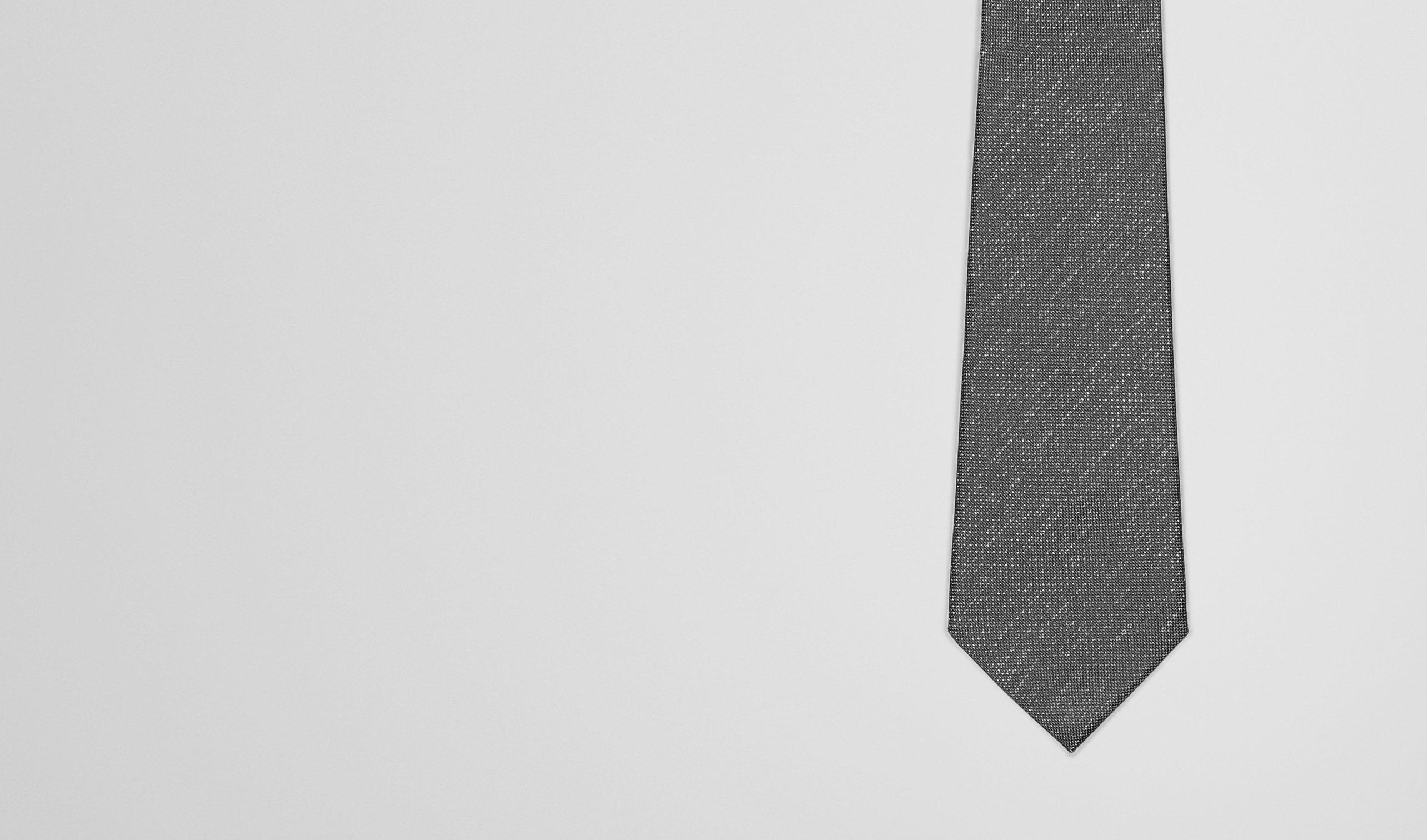 BOTTEGA VENETA Tie U Flannel Dark Grey Silk Tie pl