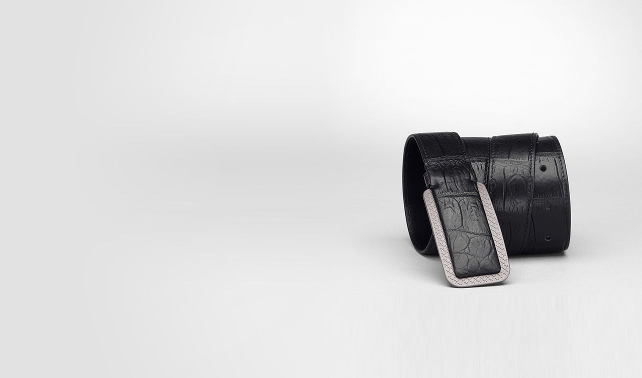 BOTTEGA VENETA Belt U Nero Soft Crocodile Belt pl