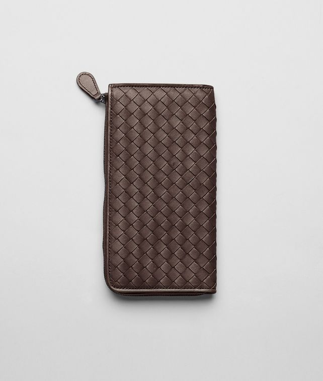 BOTTEGA VENETA Ebano Intrecciato Nappa Zip Wallet Zip Around Wallet D fp