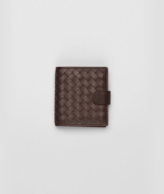 BOTTEGA VENETA French Flap Mini Portemonnaie aus Nappaleder Intrecciato Ebano Kartenetui oder Geldbörse D fp
