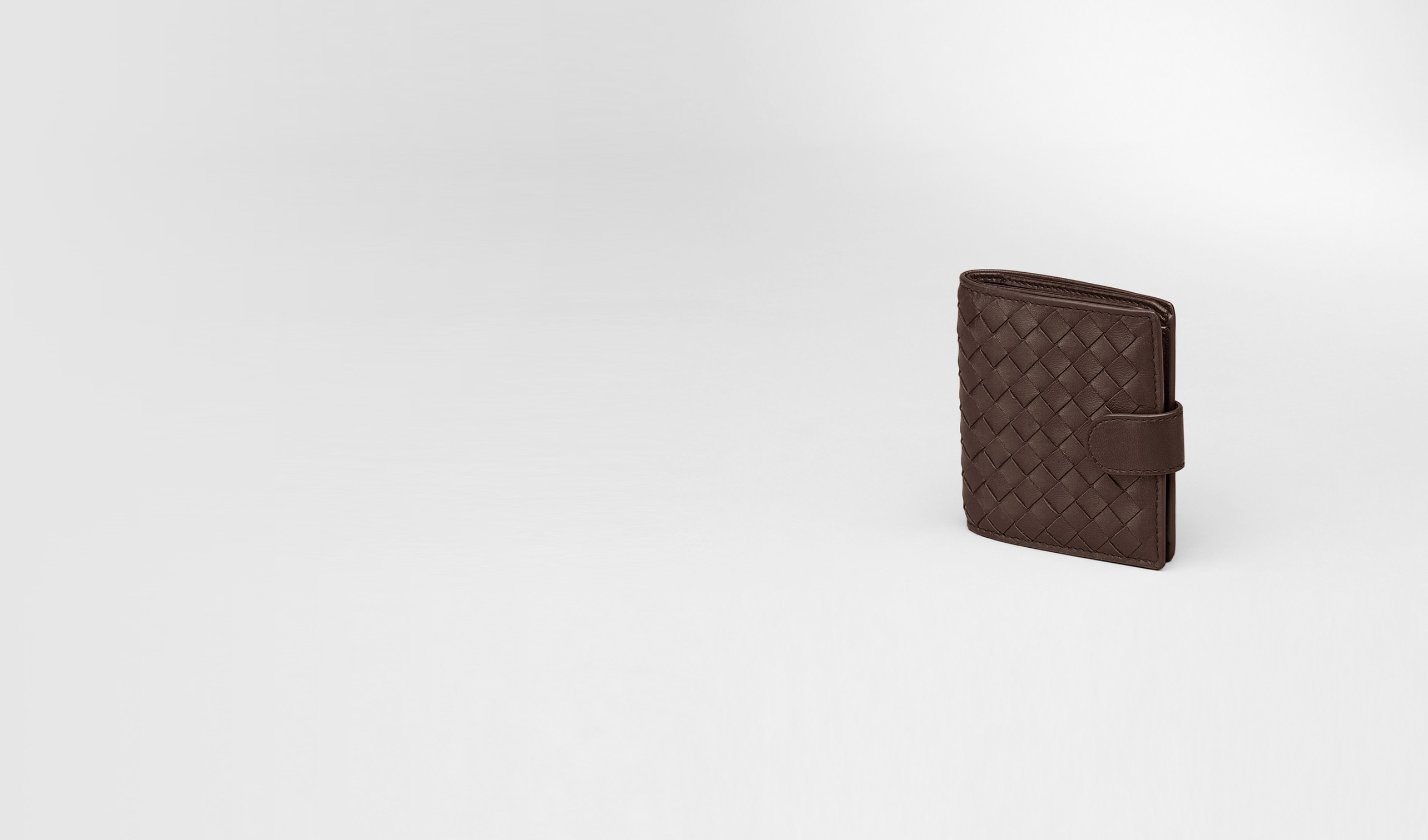 BOTTEGA VENETA Mini Wallet or Coin Purse D Ebano Intrecciato Nappa French Flap Mini Wallet pl