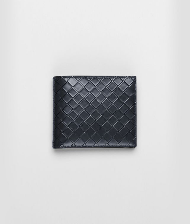 BOTTEGA VENETA Prusse Nero Intreccio Scolpito Spazzolato Wallet Bi-fold Wallet U fp