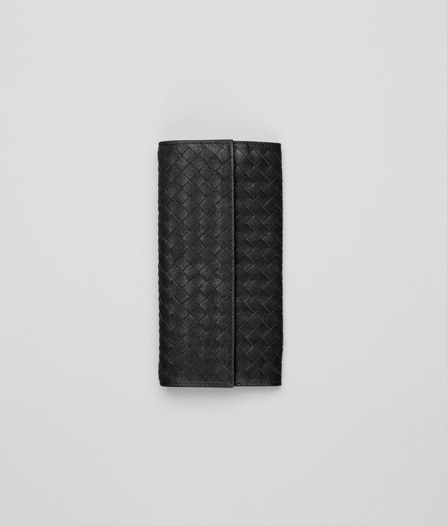 BOTTEGA VENETA Continental Portemonnaie aus gewaschenem Lammfell Intrecciato Nero Continental Portemonnaie D fp
