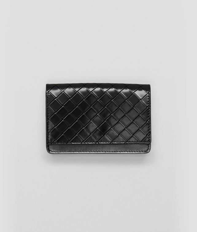 BOTTEGA VENETA Nero Intreccio Scolpito Spazzolato Card Case Card Case or Coin Purse U fp