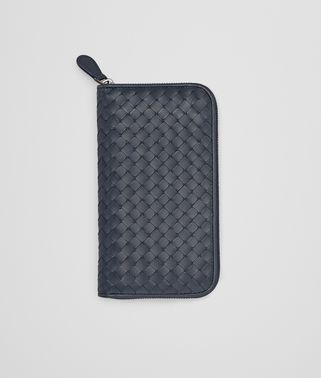 ZIP AROUND WALLET IN PRUSSE CALF INTRECCIATO