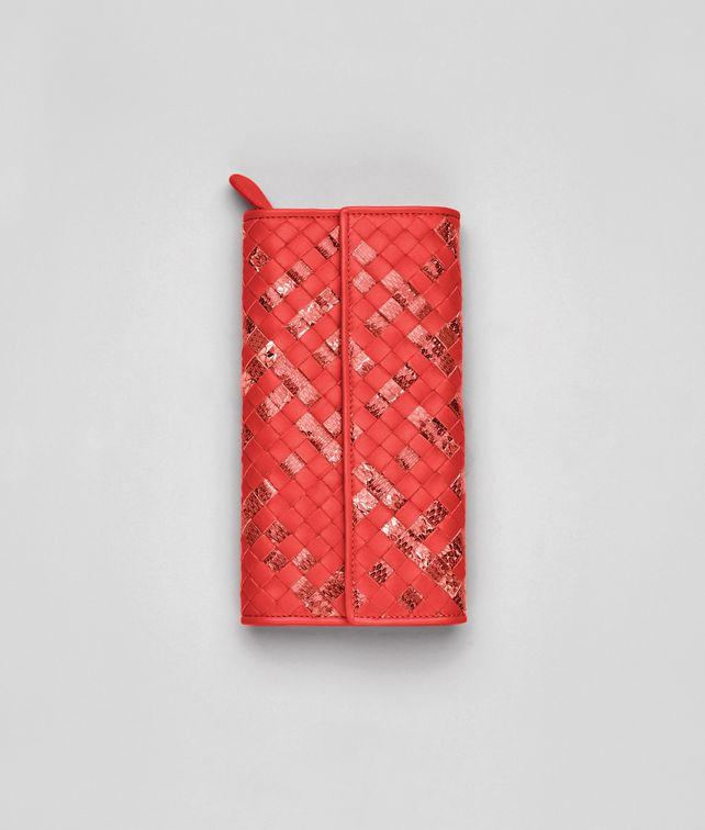 BOTTEGA VENETA Continental Portemonnaie aus Ayers und Nappaleder Intrecciato New Red Continental Portemonnaie D fp