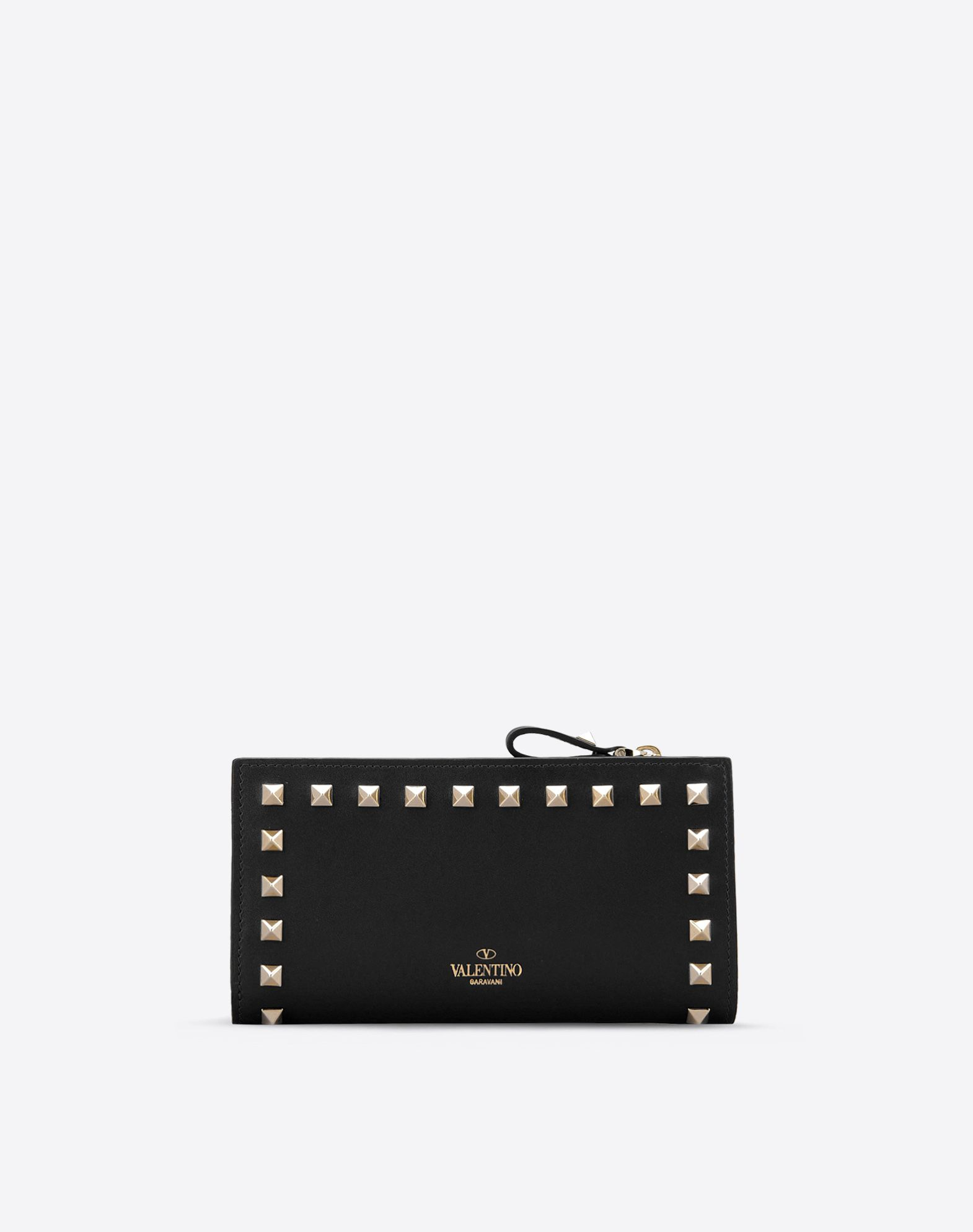 VALENTINO Solid color Internal card slots Snap button closure Logo detail Metallic inserts  46326876jt