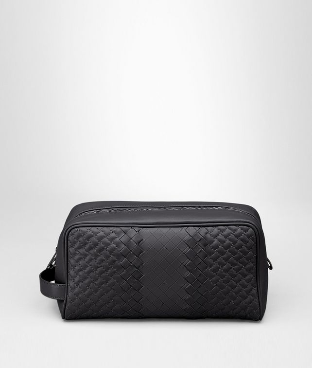 BOTTEGA VENETA TOILETRY CASE IN NERO INTRECCIO IMPERATORE Small bag U fp