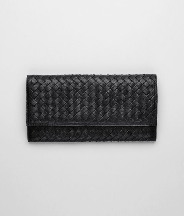 BOTTEGA VENETA Nero Intrecciato Washed Lambskin Document Case Continental Wallet E fp