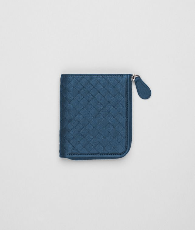 BOTTEGA VENETA Électrique Intrecciato Washed Lambskin Zip Around Mini Wallet Mini Wallet or Coin Purse D fp