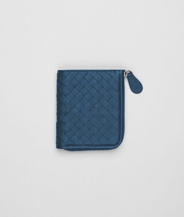 BOTTEGA VENETA Kleines Portemonnaie mit Rundum-Reißverschluss aus gewaschenem Lammfell Intrecciato Électrique Kartenetui oder Geldbörse D fp