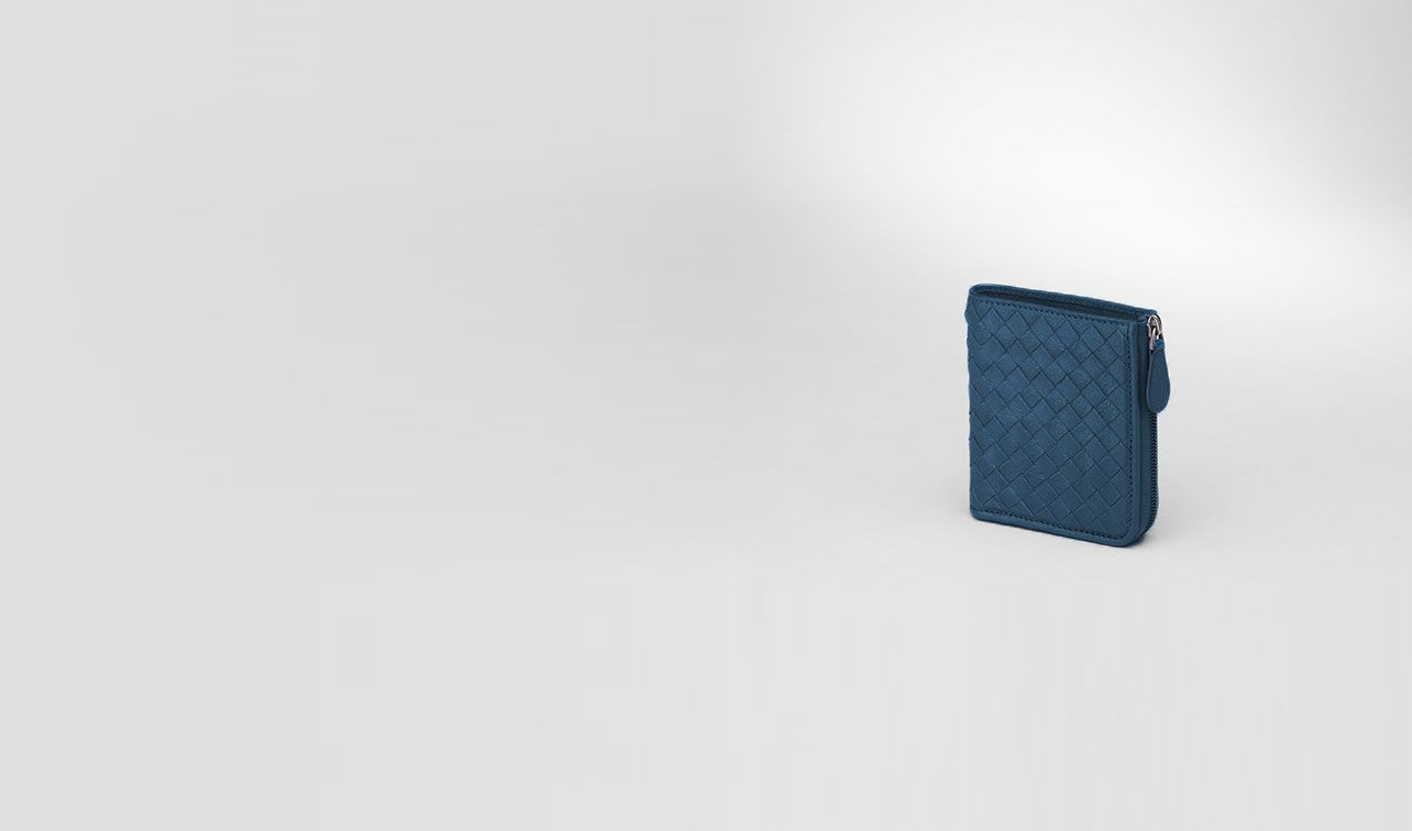 BOTTEGA VENETA Mini Wallet or Coin Purse D Électrique Intrecciato Washed Lambskin Zip Around Mini Wallet pl