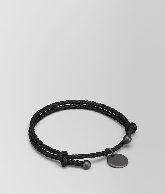 BOTTEGA VENETA BRACELET IN NERO INTRECCIATO NAPPA Keyring or Bracelets E fp