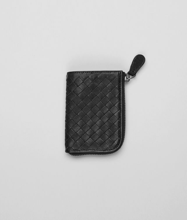 BOTTEGA VENETA Schlüsseletui aus gewaschenem Lammfell Intrecciato Nero Schlüsselring oder Armband E fp
