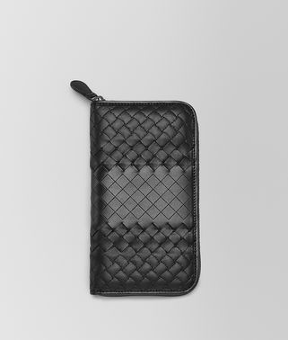 ZIP AROUND WALLET IN NERO INTRECCIO IMPERATORE
