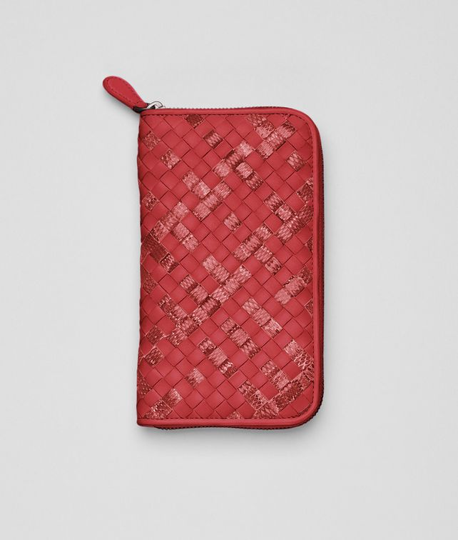 BOTTEGA VENETA Fraise Intrecciato Ayers Nappa Zip Around Wallet Zip Around Wallet D fp