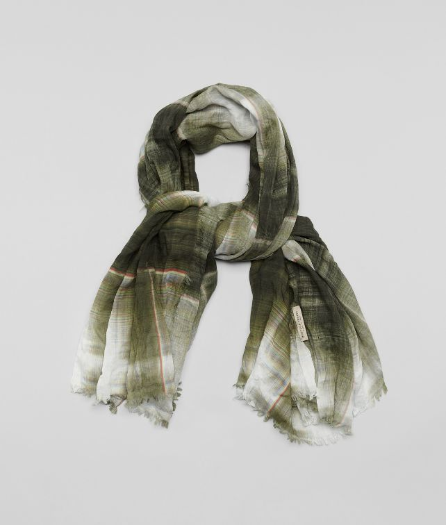 WHITE DARK GREEN COTTON SILK SCARF