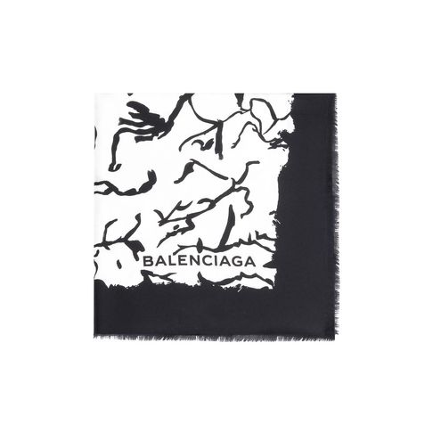 Balenciaga 'Ink Drawing' Twill Scarf